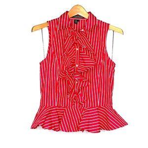 RALPH LAUREN • Striped Ruffle Sleeveless Top